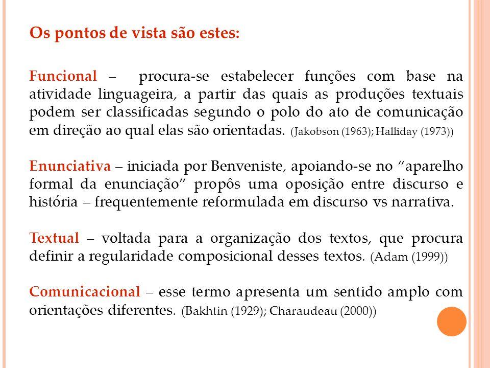 Os pontos de vista são estes: Funcional – procura-se estabelecer funções com base na atividade linguageira, a partir das quais as produções textuais p