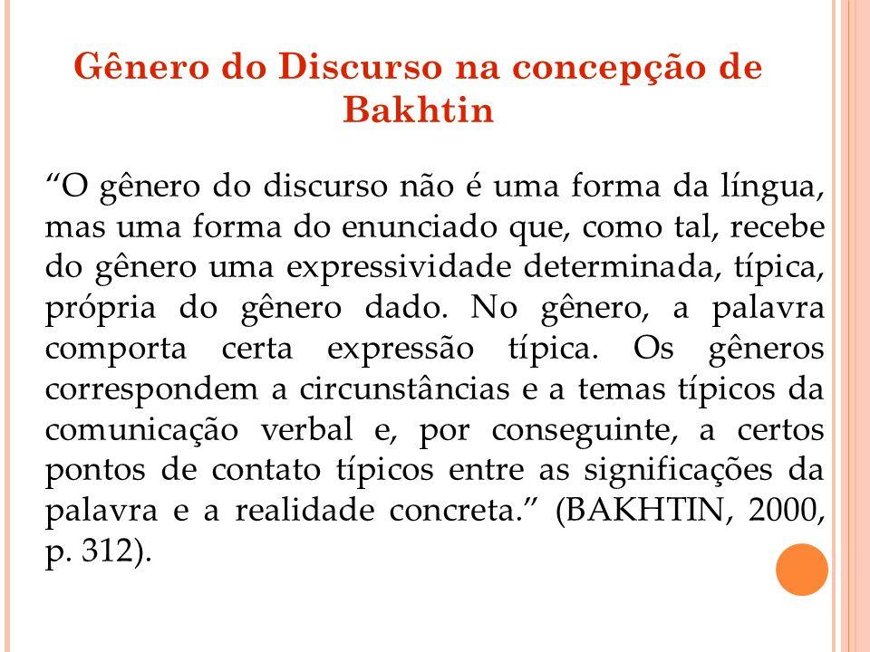 Gênero do Discurso na concepção de Bakhtin O gênero do discurso não é uma forma da língua, mas uma forma do enunciado que, como tal, recebe do gênero