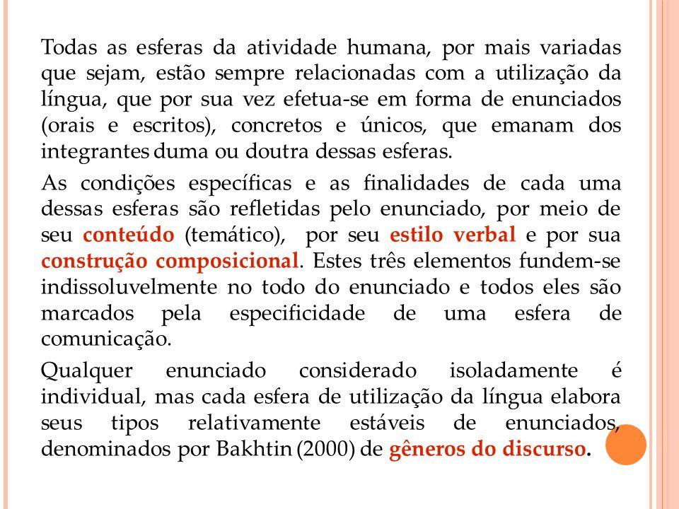 Todas as esferas da atividade humana, por mais variadas que sejam, estão sempre relacionadas com a utilização da língua, que por sua vez efetua-se em