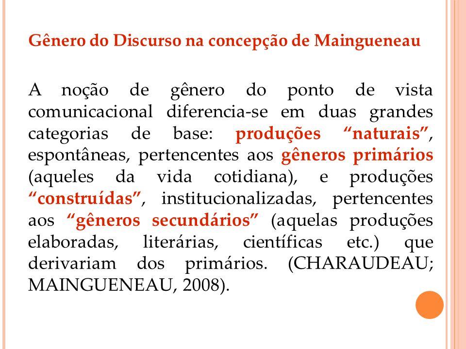 Gênero do Discurso na concepção de Maingueneau A noção de gênero do ponto de vista comunicacional diferencia-se em duas grandes categorias de base: pr