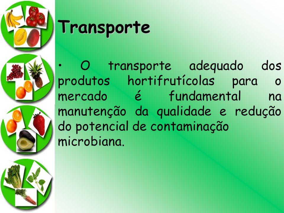 Transporte O transporte adequado dos produtos hortifrutícolas para o mercado é fundamental na manutenção da qualidade e redução do potencial de contam