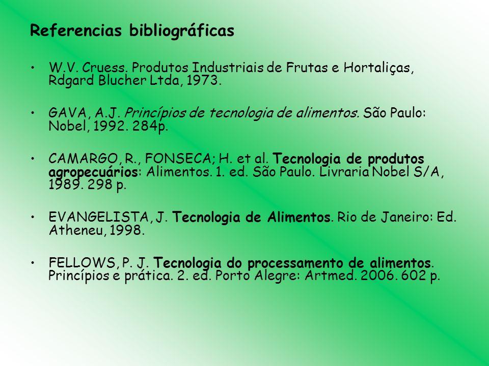 Referencias bibliográficas W.V. Cruess. Produtos Industriais de Frutas e Hortaliças, Rdgard Blucher Ltda, 1973. GAVA, A.J. Princípios de tecnologia de