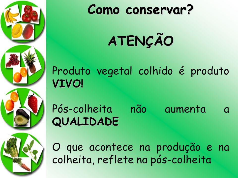 Como conservar? ATENÇÃO VIVO! Produto vegetal colhido é produto VIVO! QUALIDADE Pós-colheita não aumenta a QUALIDADE O que acontece na produção e na c