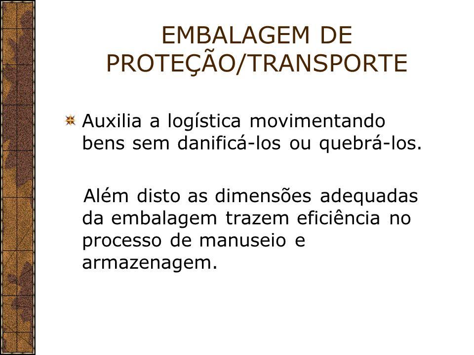 EMBALAGEM DE PROTEÇÃO/TRANSPORTE Auxilia a logística movimentando bens sem danificá-los ou quebrá-los. Além disto as dimensões adequadas da embalagem