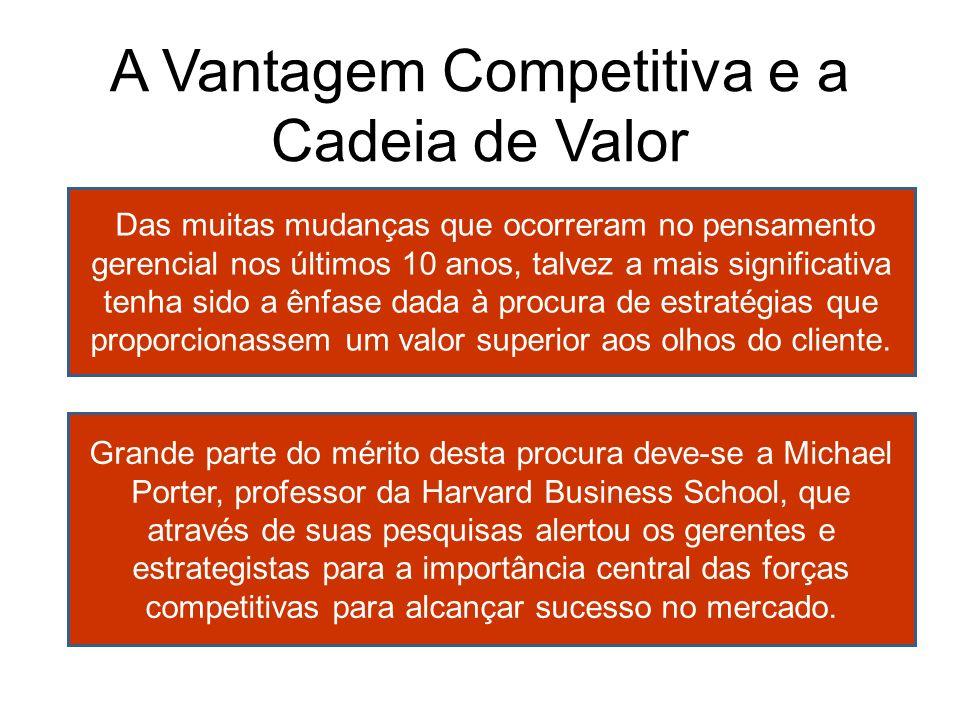 A Vantagem Competitiva e a Cadeia de Valor Das muitas mudanças que ocorreram no pensamento gerencial nos últimos 10 anos, talvez a mais significativa