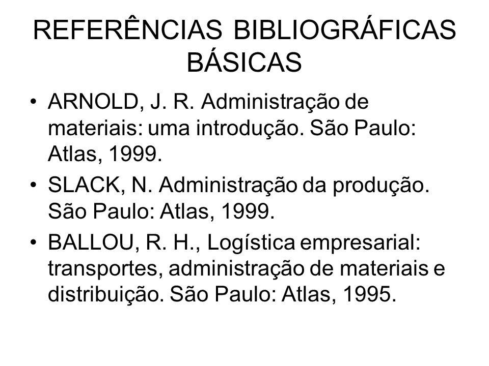 REFERÊNCIAS BIBLIOGRÁFICAS BÁSICAS ARNOLD, J. R. Administração de materiais: uma introdução. São Paulo: Atlas, 1999. SLACK, N. Administração da produç