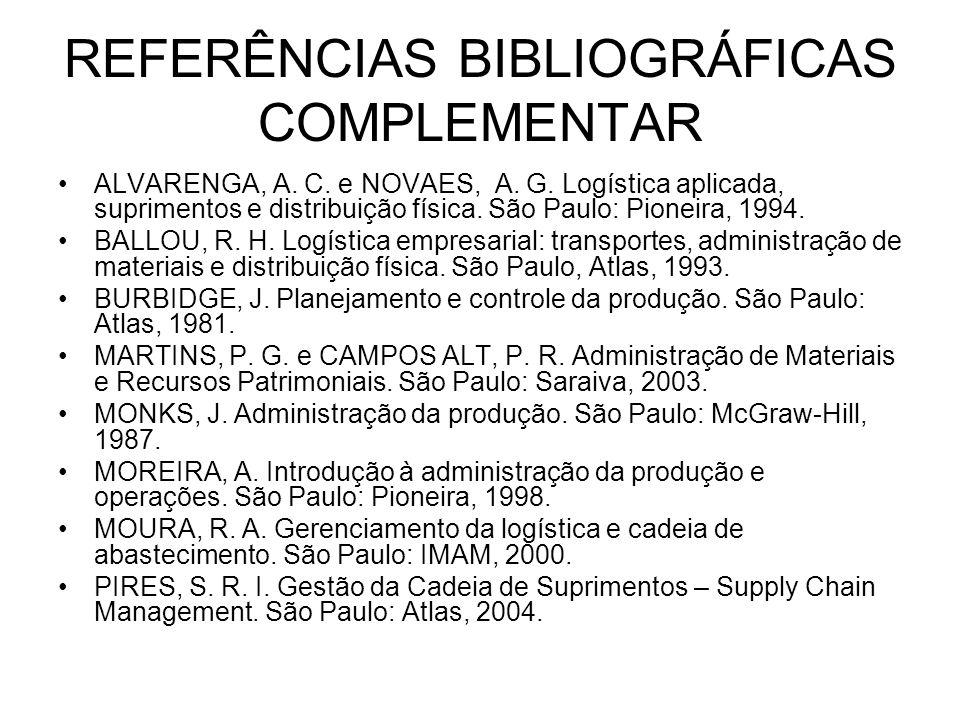 REFERÊNCIAS BIBLIOGRÁFICAS COMPLEMENTAR ALVARENGA, A. C. e NOVAES, A. G. Logística aplicada, suprimentos e distribuição física. São Paulo: Pioneira, 1
