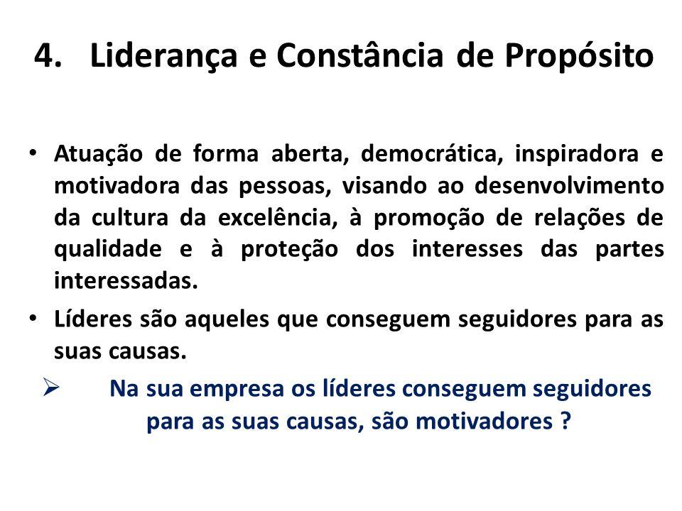 4.Liderança e Constância de Propósito Atuação de forma aberta, democrática, inspiradora e motivadora das pessoas, visando ao desenvolvimento da cultur