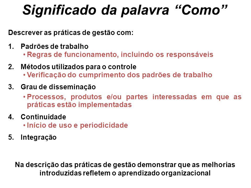 Descrever as práticas de gestão com: 1.Padrões de trabalho Regras de funcionamento, incluindo os responsáveis 2.Métodos utilizados para o controle Ver