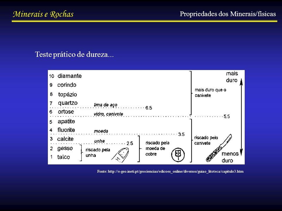 Minerais e Rochas Propriedades dos Minerais/físicas Teste prático de dureza... Fonte: http://e-geo.ineti.pt/geociencias/edicoes_online/diversos/guiao_