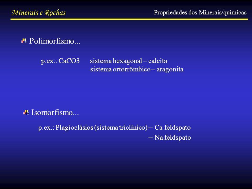 Minerais e Rochas Propriedades dos Minerais/químicas Polimorfismo... Isomorfismo... p.ex.: Plagioclásios (sistema triclínico) – Ca feldspato – Na feld