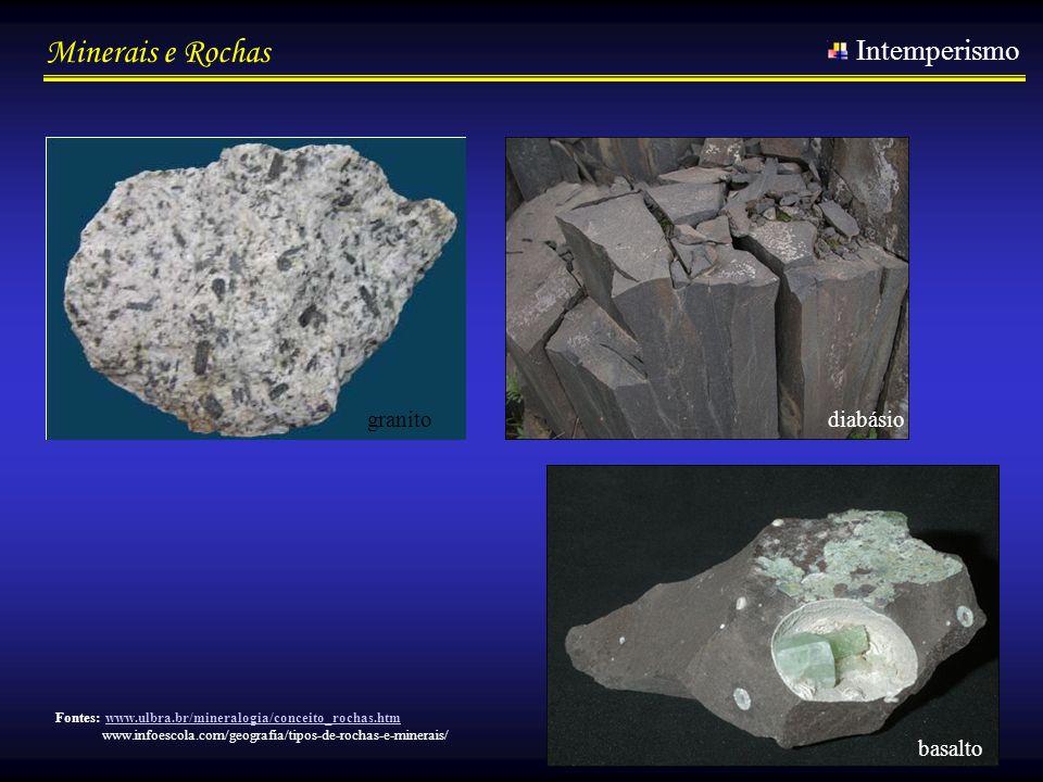 Minerais e Rochas Intemperismo basalto diabásio Fontes: www.ulbra.br/mineralogia/conceito_rochas.htmwww.ulbra.br/mineralogia/conceito_rochas.htm www.i