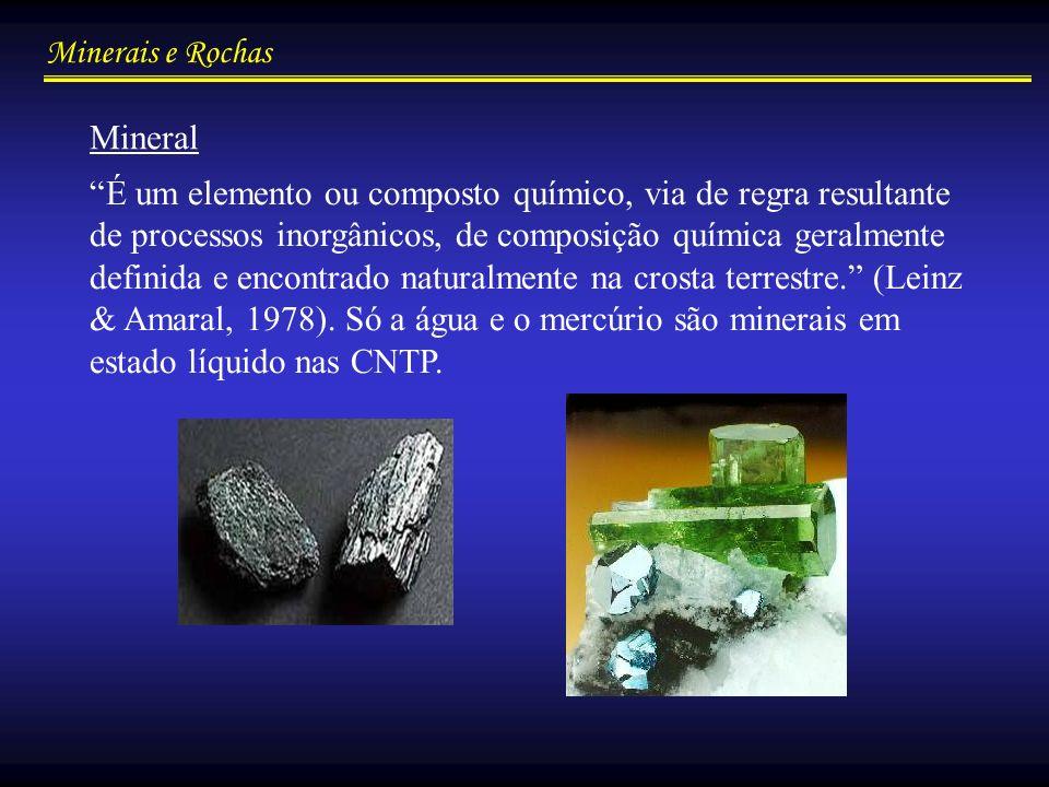 Minerais e Rochas Elementos ou compostos químicos semelhantes a minerais, mas que não atendem a todas as condições para serem considerados como tais.
