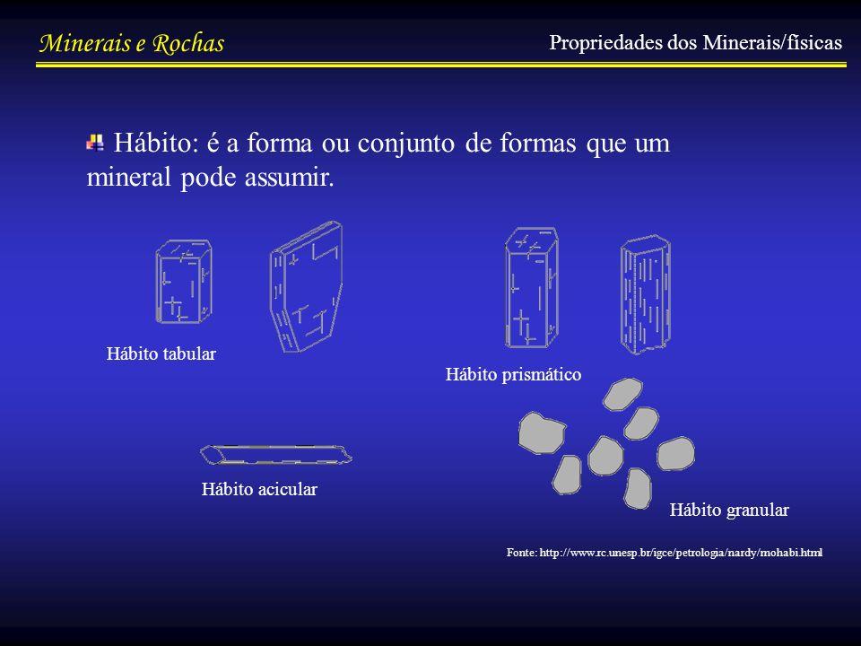 Minerais e Rochas Hábito: é a forma ou conjunto de formas que um mineral pode assumir. Propriedades dos Minerais/físicas Hábito tabular Hábito prismát