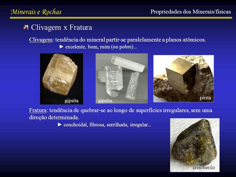 Minerais e Rochas Propriedades dos Minerais/físicas Clivagem x Fratura Clivagem: tendência do mineral partir-se paralelamente a planos atômicos. Fratu