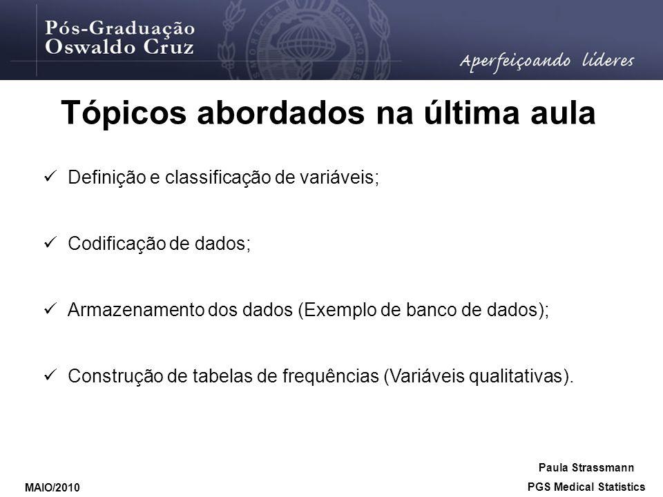 Tópicos abordados na última aula Definição e classificação de variáveis; Codificação de dados; Armazenamento dos dados (Exemplo de banco de dados); Co