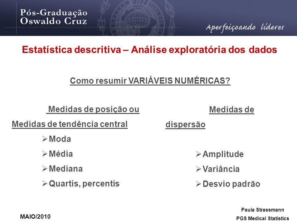 Estatística descritiva – Análise exploratória dos dados Como resumir VARIÁVEIS NUMÉRICAS? Medidas de posição ou Medidas de tendência central Moda Médi