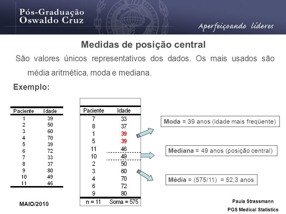 Medidas de posição central São valores únicos representativos dos dados. Os mais usados são média aritmética, moda e mediana. Exemplo: Mediana = 49 an