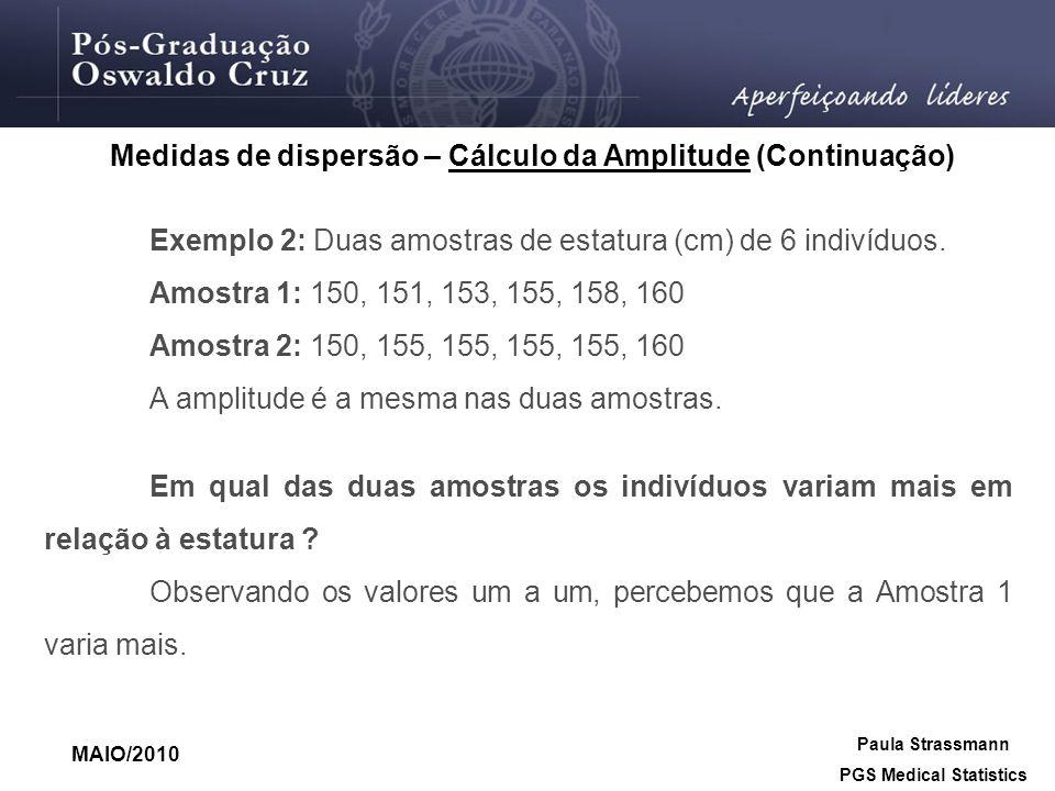 Exemplo 2: Duas amostras de estatura (cm) de 6 indivíduos. Amostra 1: 150, 151, 153, 155, 158, 160 Amostra 2: 150, 155, 155, 155, 155, 160 A amplitude