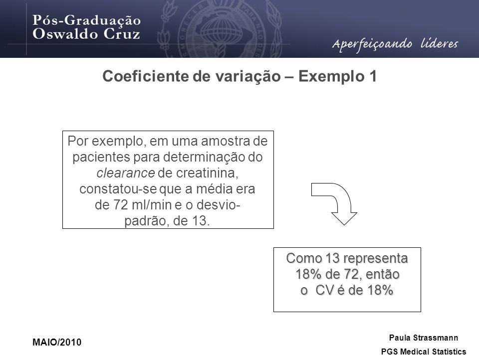 Coeficiente de variação – Exemplo 1 Como 13 representa 18% de 72, então o CV é de 18% Por exemplo, em uma amostra de pacientes para determinação do cl