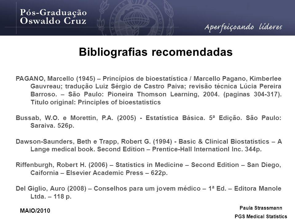 Bibliografias recomendadas PAGANO, Marcello (1945) – Princípios de bioestatística / Marcello Pagano, Kimberlee Gauvreau; tradução Luiz Sérgio de Castr