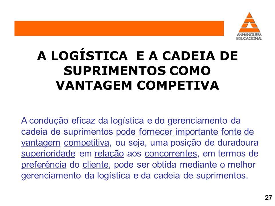 A condução eficaz da logística e do gerenciamento da cadeia de suprimentos pode fornecer importante fonte de vantagem competitiva, ou seja, uma posiçã