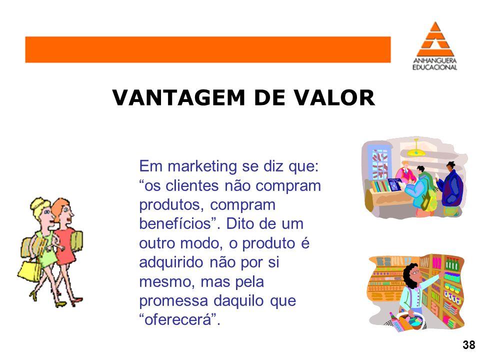 VANTAGEM DE VALOR Em marketing se diz que: os clientes não compram produtos, compram benefícios. Dito de um outro modo, o produto é adquirido não por