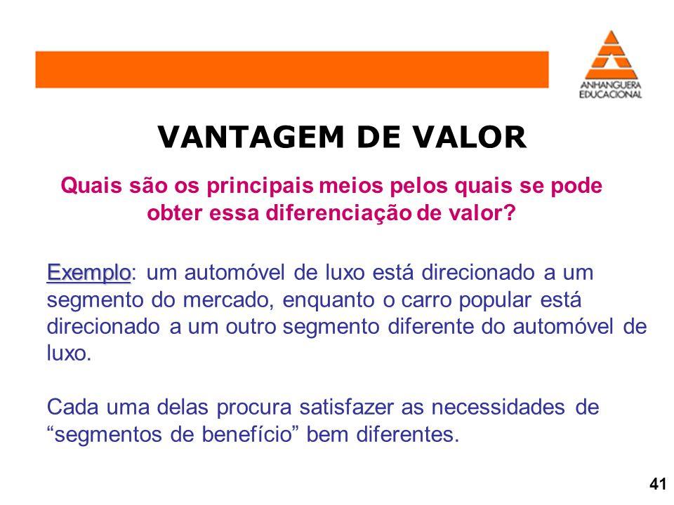 VANTAGEM DE VALOR Quais são os principais meios pelos quais se pode obter essa diferenciação de valor? Exemplo Exemplo: um automóvel de luxo está dire