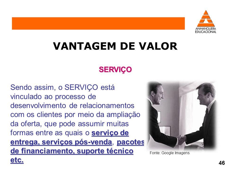 VANTAGEM DE VALOR SERVIÇO serviço de entrega, serviços pós-vendapacotes de financiamento, suporte técnico etc. Sendo assim, o SERVIÇO está vinculado a