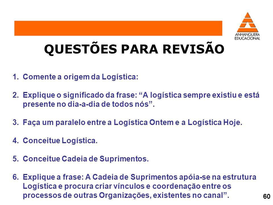 1.Comente a origem da Logística: 2.Explique o significado da frase: A logística sempre existiu e está presente no dia-a-dia de todos nós. 3.Faça um pa