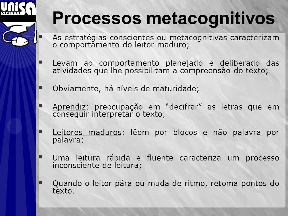Processos metacognitivos As estratégias conscientes ou metacognitivas caracterizam o comportamento do leitor maduro; Levam ao comportamento planejado