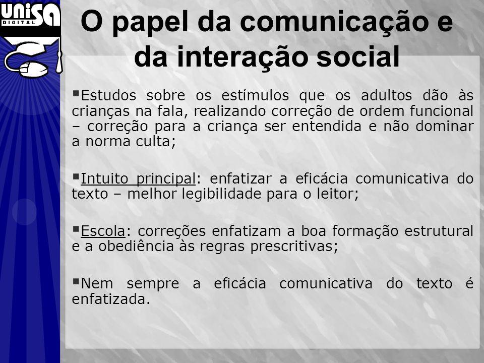 O papel da comunicação e da interação social Estudos sobre os estímulos que os adultos dão às crianças na fala, realizando correção de ordem funcional
