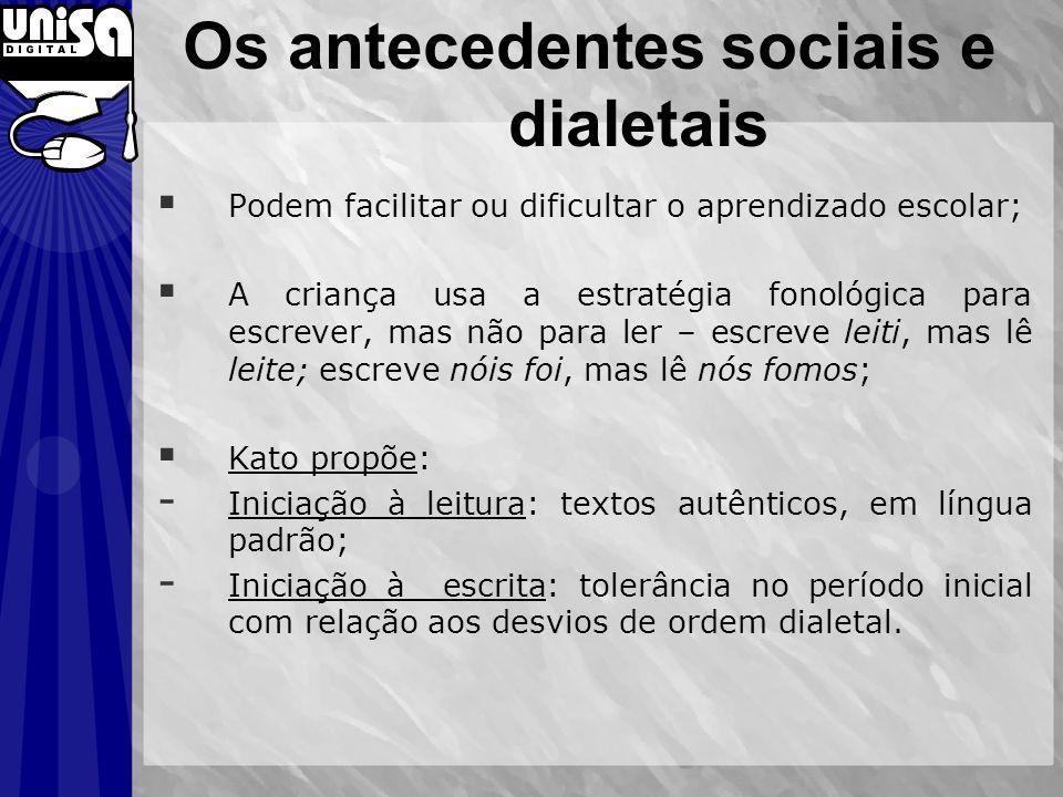 Os antecedentes sociais e dialetais Podem facilitar ou dificultar o aprendizado escolar; A criança usa a estratégia fonológica para escrever, mas não