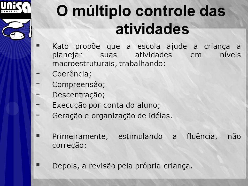 O múltiplo controle das atividades Kato propõe que a escola ajude a criança a planejar suas atividades em níveis macroestruturais, trabalhando: - Coer