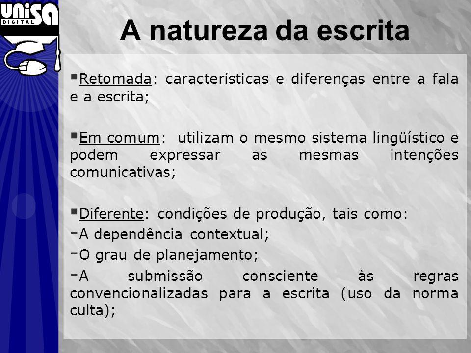A natureza da escrita Retomada: características e diferenças entre a fala e a escrita; Em comum: utilizam o mesmo sistema lingüístico e podem expressa