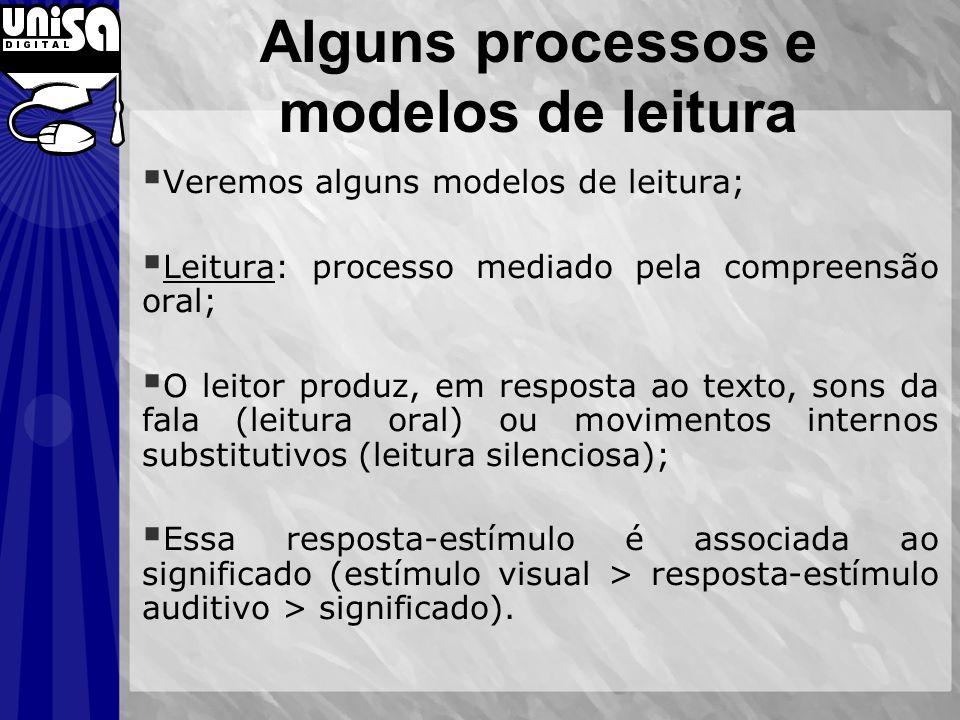Alguns processos e modelos de leitura Veremos alguns modelos de leitura; Leitura: processo mediado pela compreensão oral; O leitor produz, em resposta