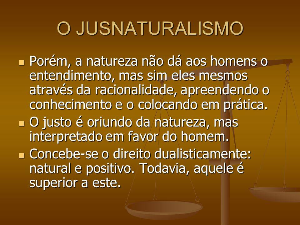 O JUSNATURALISMO Porém, a natureza não dá aos homens o entendimento, mas sim eles mesmos através da racionalidade, apreendendo o conhecimento e o colo