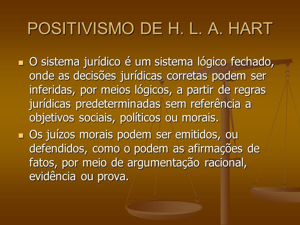 POSITIVISMO DE H. L. A. HART O sistema jurídico é um sistema lógico fechado, onde as decisões jurídicas corretas podem ser inferidas, por meios lógico