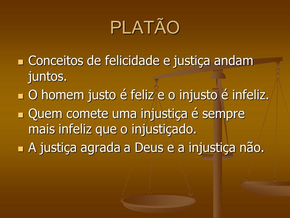 PLATÃO Conceitos de felicidade e justiça andam juntos. Conceitos de felicidade e justiça andam juntos. O homem justo é feliz e o injusto é infeliz. O