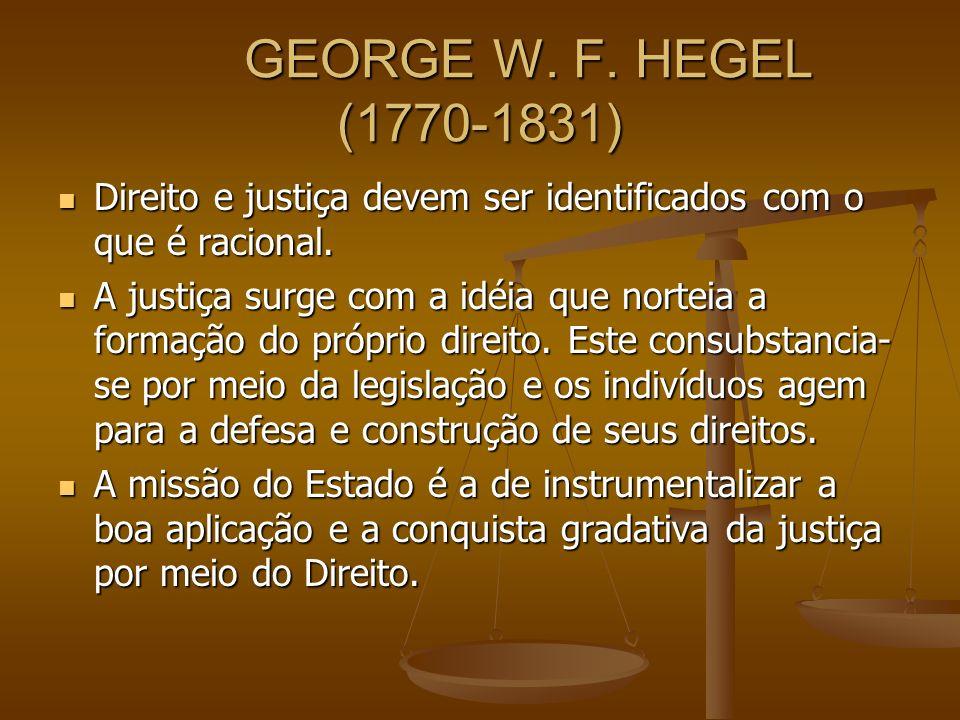 GEORGE W. F. HEGEL (1770-1831) Direito e justiça devem ser identificados com o que é racional. Direito e justiça devem ser identificados com o que é r