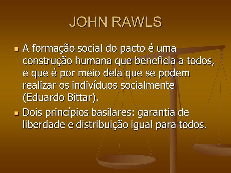 JOHN RAWLS A formação social do pacto é uma construção humana que beneficia a todos, e que é por meio dela que se podem realizar os indivíduos socialm