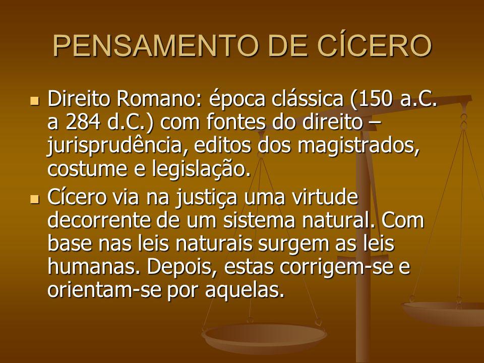 PENSAMENTO DE CÍCERO Direito Romano: época clássica (150 a.C. a 284 d.C.) com fontes do direito – jurisprudência, editos dos magistrados, costume e le