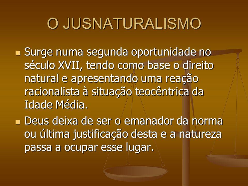 O JUSNATURALISMO Surge numa segunda oportunidade no século XVII, tendo como base o direito natural e apresentando uma reação racionalista à situação t