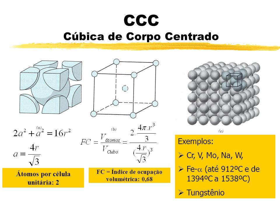 CCC Cúbica de Corpo Centrado Átomos por célula unitária: 2 FC = Índice de ocupação volumétrica: 0,68 Exemplos: Cr, V, Mo, Na, W, Fe- (até 912ºC e de 1