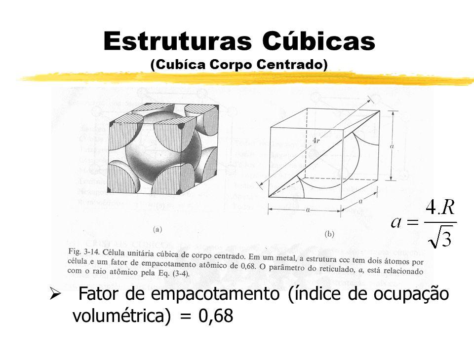Estruturas Cúbicas (Cubíca Corpo Centrado) Fator de empacotamento (índice de ocupação volumétrica) = 0,68