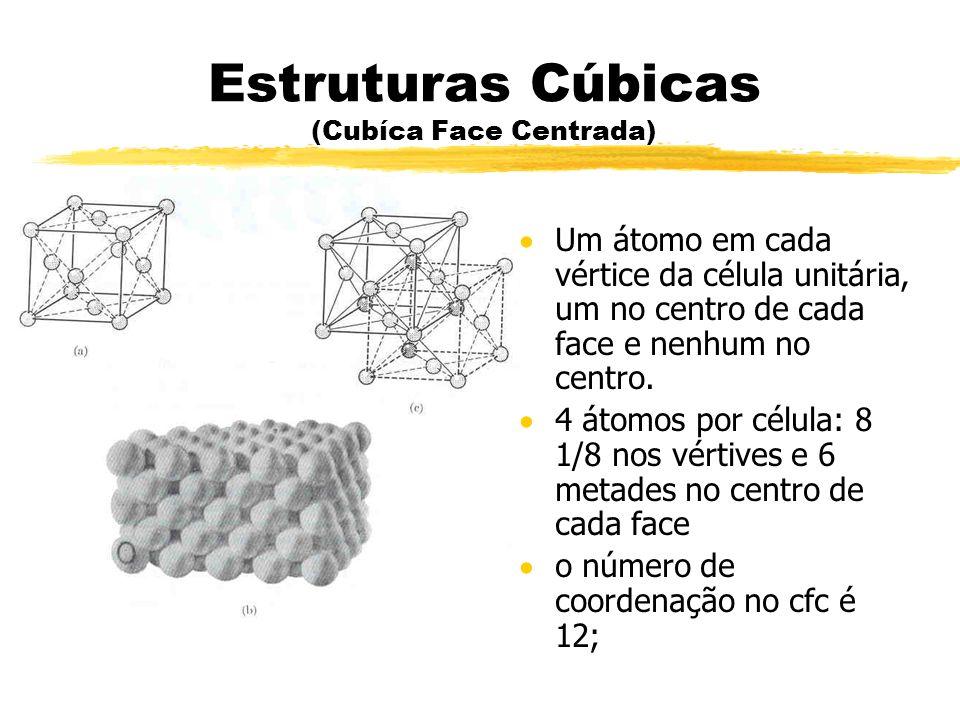 Estruturas Cúbicas (Cubíca Face Centrada) Um átomo em cada vértice da célula unitária, um no centro de cada face e nenhum no centro. 4 átomos por célu