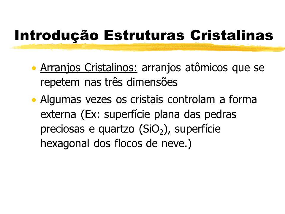 Introdução Estruturas Cristalinas Arranjos Cristalinos: arranjos atômicos que se repetem nas três dimensões Algumas vezes os cristais controlam a form