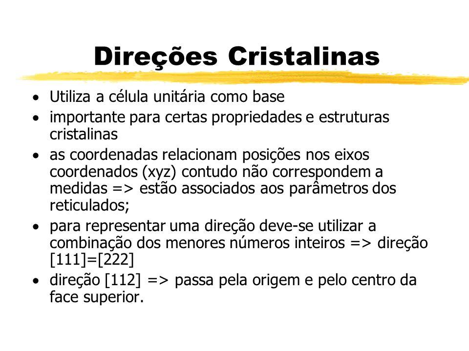Direções Cristalinas Utiliza a célula unitária como base importante para certas propriedades e estruturas cristalinas as coordenadas relacionam posiçõ