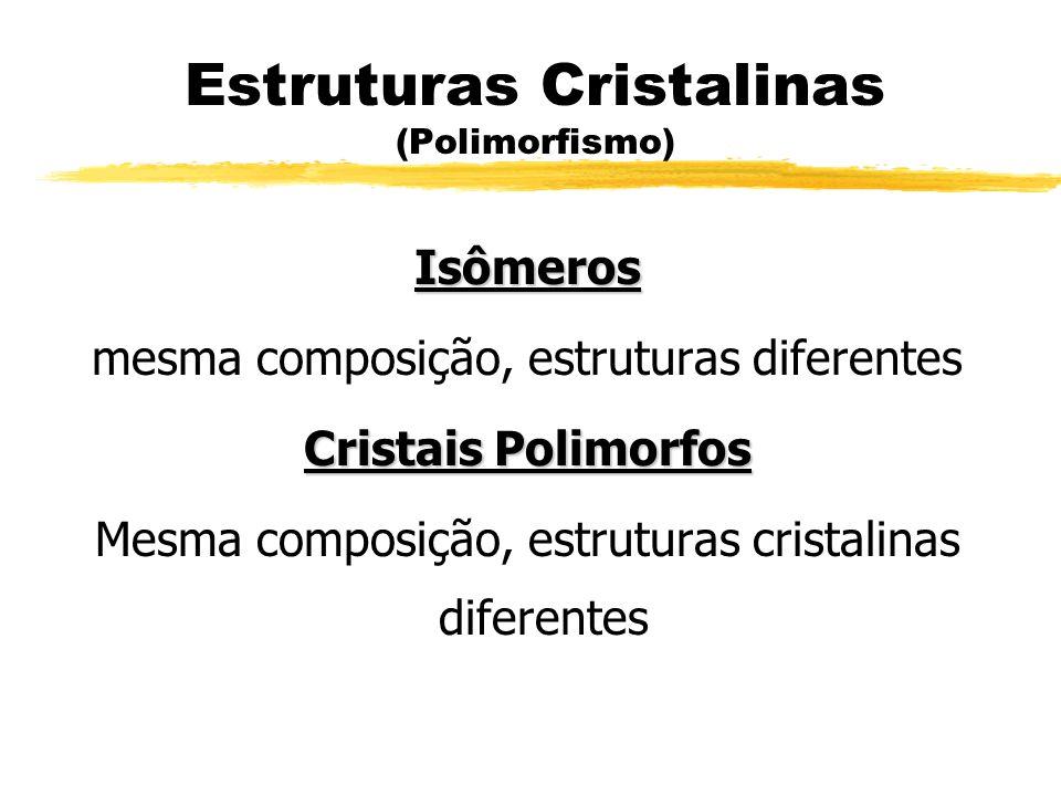Estruturas Cristalinas (Polimorfismo) Isômeros mesma composição, estruturas diferentes Cristais Polimorfos Mesma composição, estruturas cristalinas di
