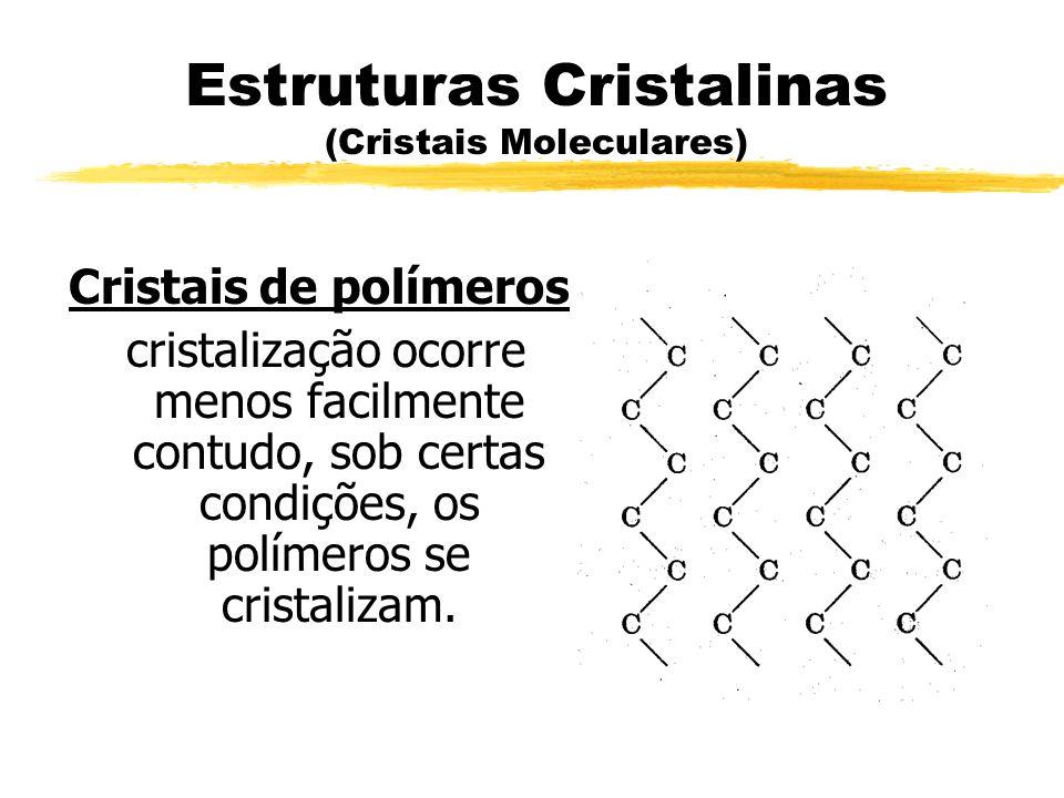 Estruturas Cristalinas (Cristais Moleculares) Cristais de polímeros cristalização ocorre menos facilmente contudo, sob certas condições, os polímeros
